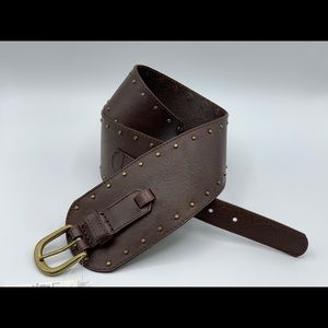 NEW Loft Brown Leather Studded Wide Belt SMALL